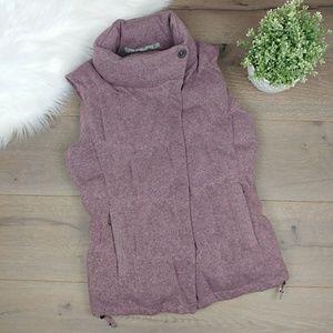 Athleta down puffer vest knit heather purple